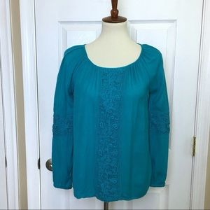 Lilly Pulitzer Turquoise With Lace Blouse Top XS